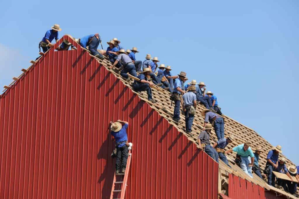 amish barn-raising