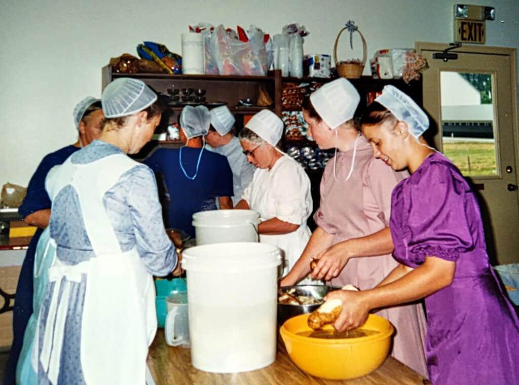 Amish ladies preparing wedding food