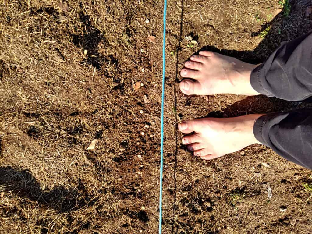 barefoot in the garden with my Amish mom