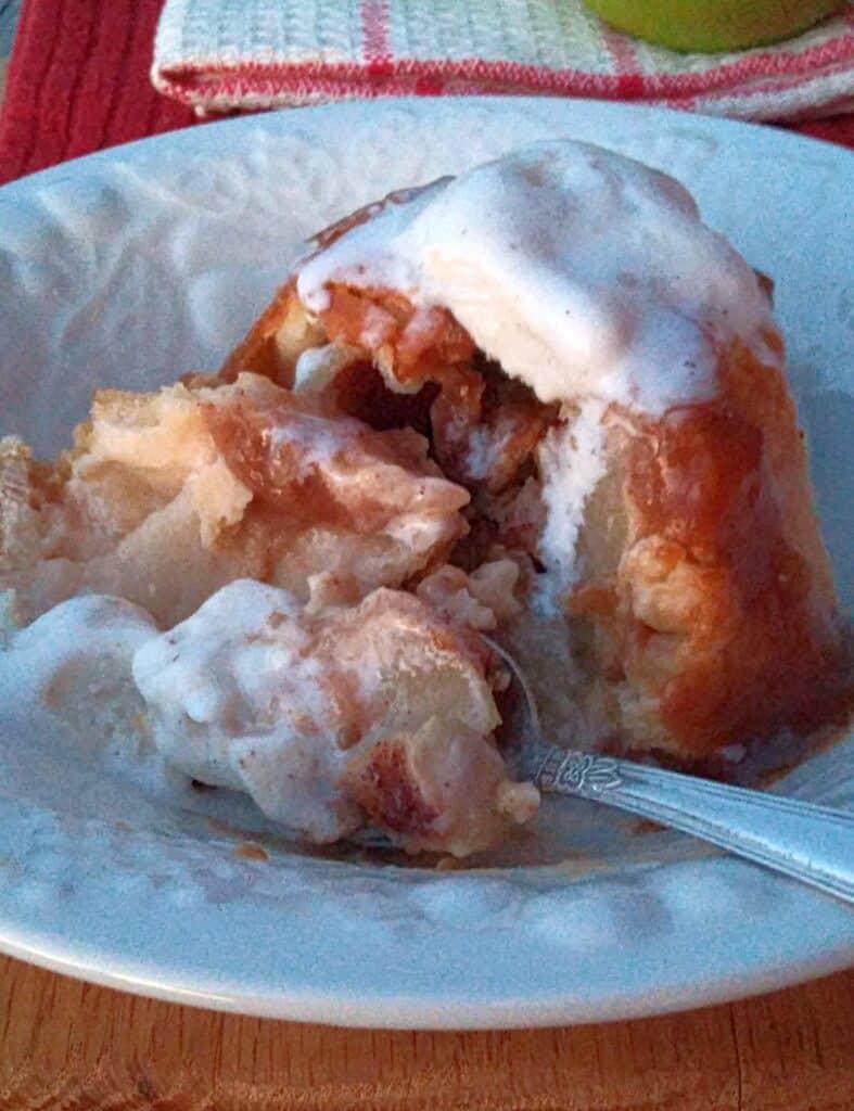 apple dumpling and ice cream
